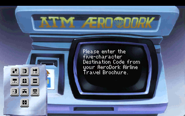 Please enter the five-character Destination Code from your AeroDork Airline Travel Brochure.