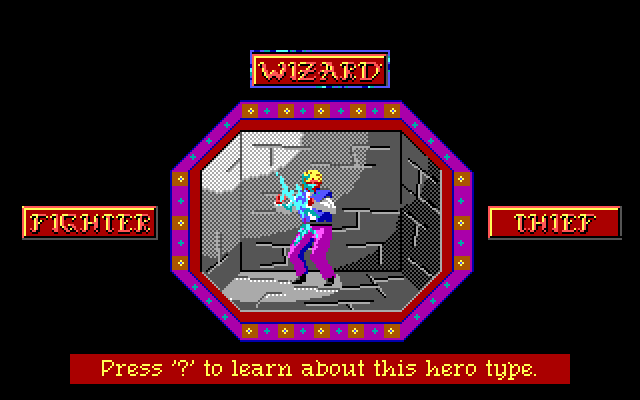 Wizard Character Selection Screen. Press '?' to learn about this hero type.