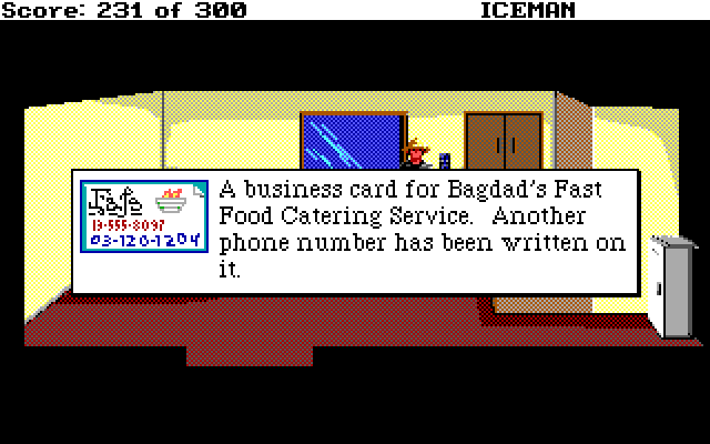 A business card for Bagdad's Fast Food Catering Service. Another phone number has been written on it.