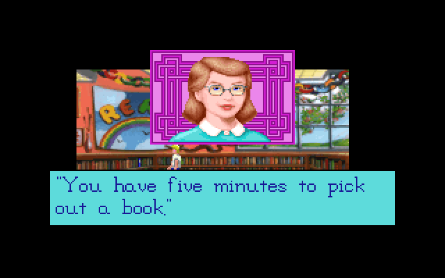 """You have five minutes to pick out a book."""